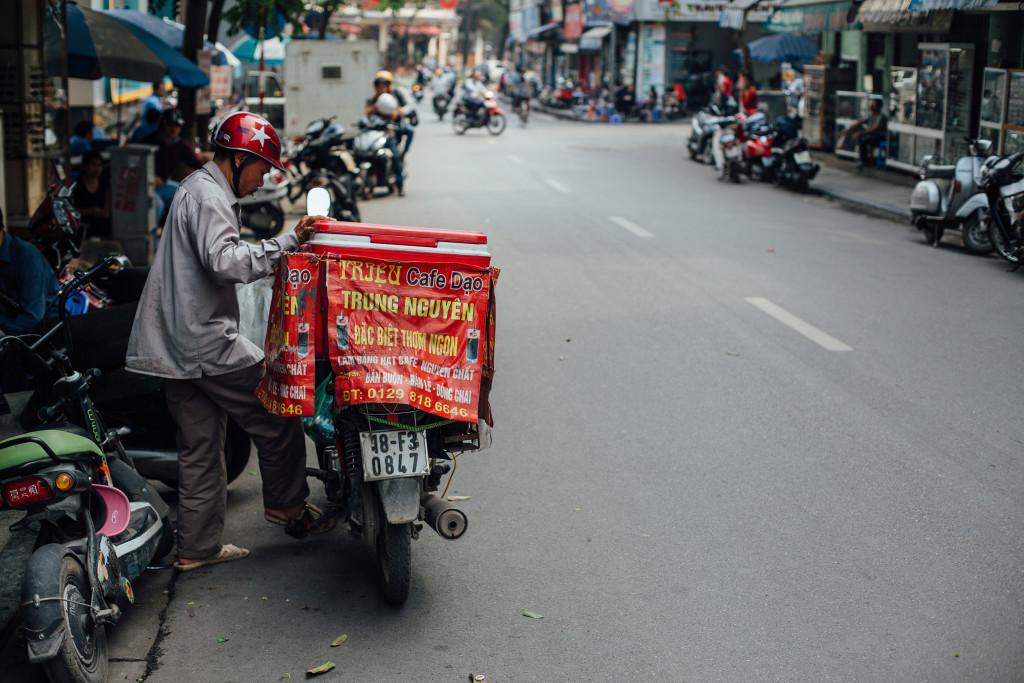 Coffee delivery motorbike